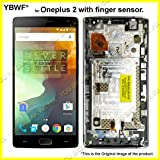 YBWF for Oneplus 2/Oneplus Two Bezel Frame Full Assembly + LCD Display + Touch Screen Digitizer Assembly + Alloy Steel 5in1 Tools. (with Frame)