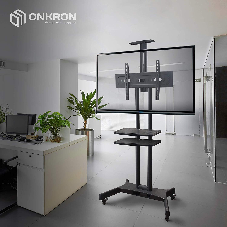ONKRON Supporto Carrello TV da Pavimento per schermi 32-65 Pollici LCD LED OLED TV CURVO VESA max 600x400mm