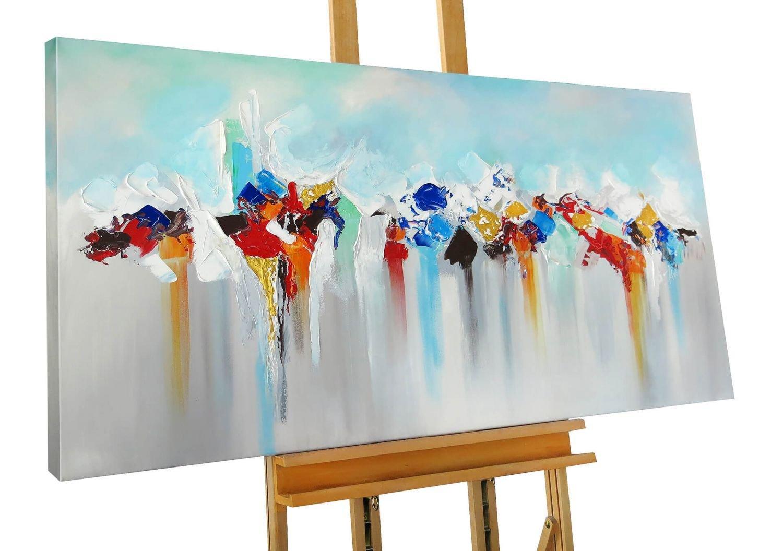 KunstLoft® Acryl Gemälde 'Aftermath' 140x70cm   original handgemalte Leinwand Bilder XXL   Abstrakt Blau Bunt Grau   Wandbild Acrylbild moderne Kunst einteilig mit Rahmen