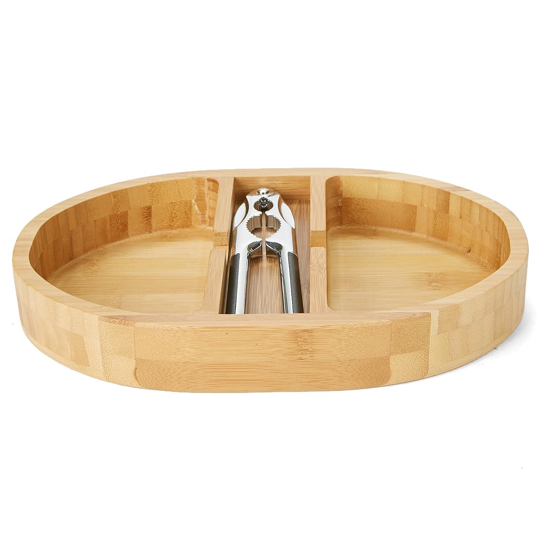 Mind Reader NUTRAY-BRN Nut Cracker Bowl Set with Stainless Steel Metal Nut Cracker Brown