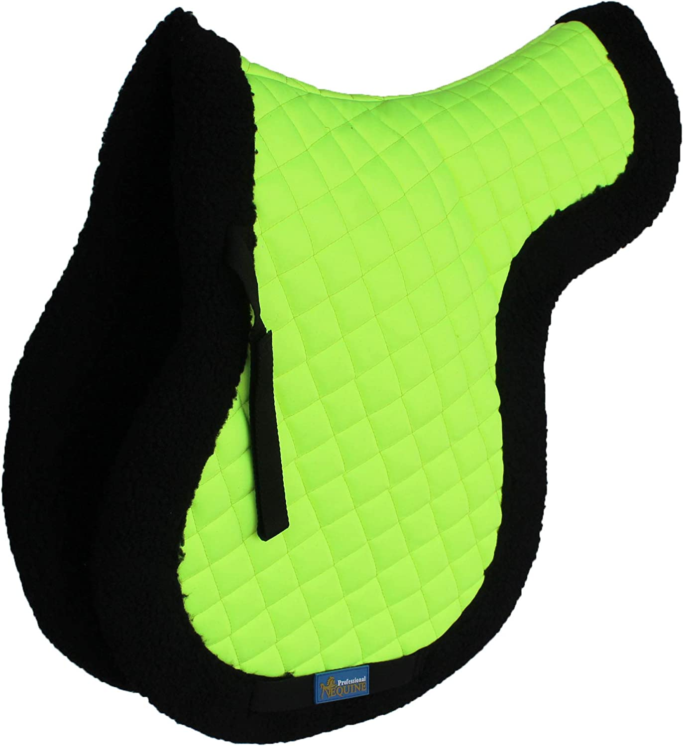 Challeger Horse Saddle Pad English Contoured Quilted Fleece Shock Absorbing Lime 72142LG