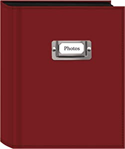 Pioneer Photo 208-Pocket Bright Red Sewn Leatherette Photo Album with Silvertone Metal I.D. Plate for 4 by 6-Inch Prints