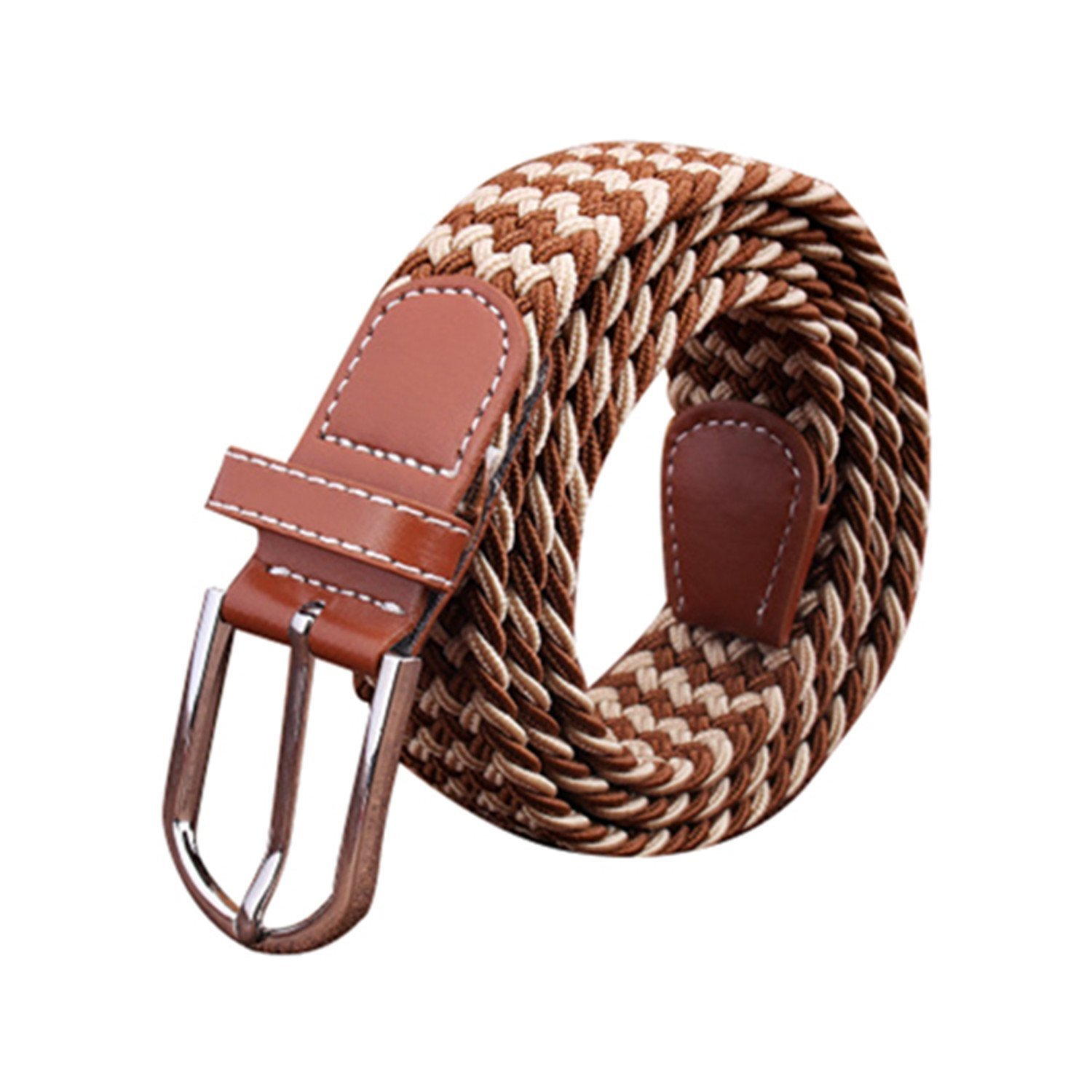 OnIn?Fashion Men Elastic Stretch Woven Canvas Leather Pin Buckle Waist Belt khaki Blue 8 Colors