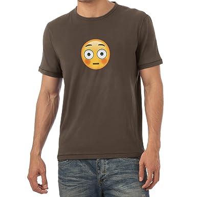 Texlab Flushed Face Emoji - Herren T-Shirt, Größe S, Braun