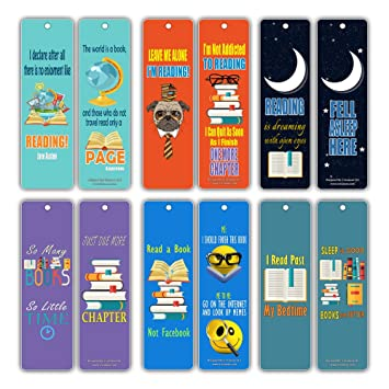 Book Lovers Literary Bookmarks Cards 12 Pack