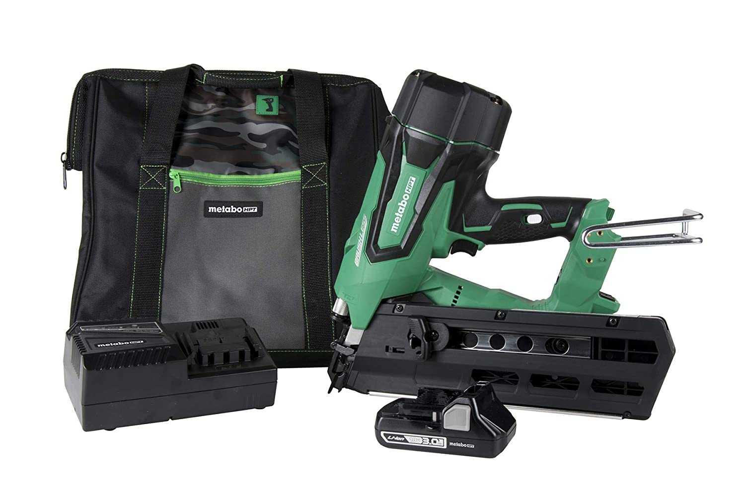 """Metabo HPT NR1890DR 18V Cordless Framing Nailer, Brushless Motor, 2"""" up to 3-1/2"""" Round Plastic Strip Nails, Compact 3.0 Ah Lithium Ion Battery, Lifetime Tool Warranty"""