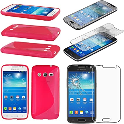 ebestStar - Coque Compatible avec Samsung Galaxy Core 4G SM-G386F Etui Housse Silicone Gel TPU Souple Motif S-Line, Rose Film Protection écran Verre ...