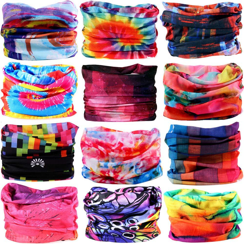 6pcs//12pcs Assorted Seamless Headbands for Men Women Athletic Moisture Wicking Headwear for Sports Cycling Arm Band Hiking Bandana Headwrap Scarf Neck Gaiter Turban Mask