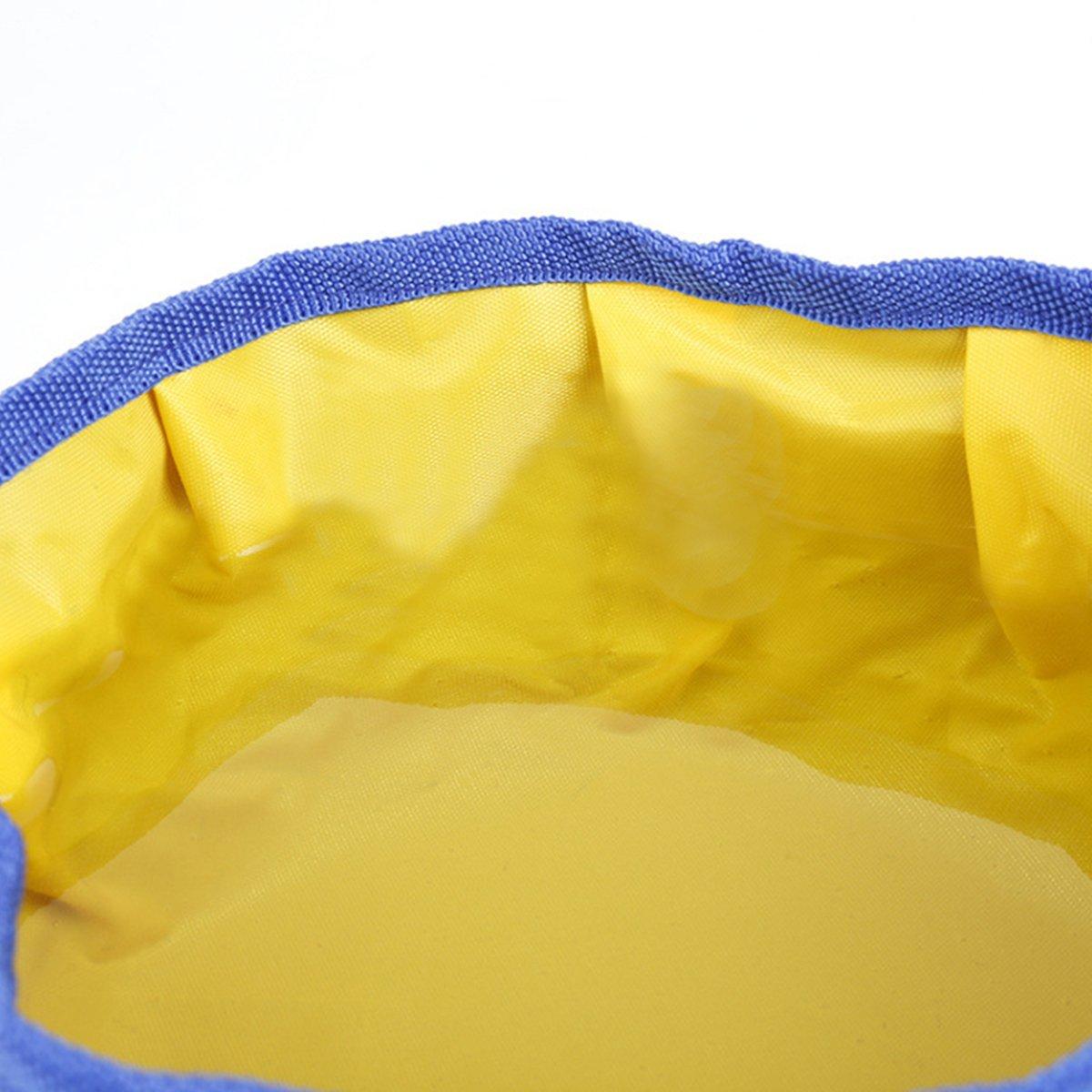 Fypo Faltbare Hundenapf, Fressnapf Wassernapf Katzennapf für Reisen Zusammenklappbar Haustier Blau/Gelb