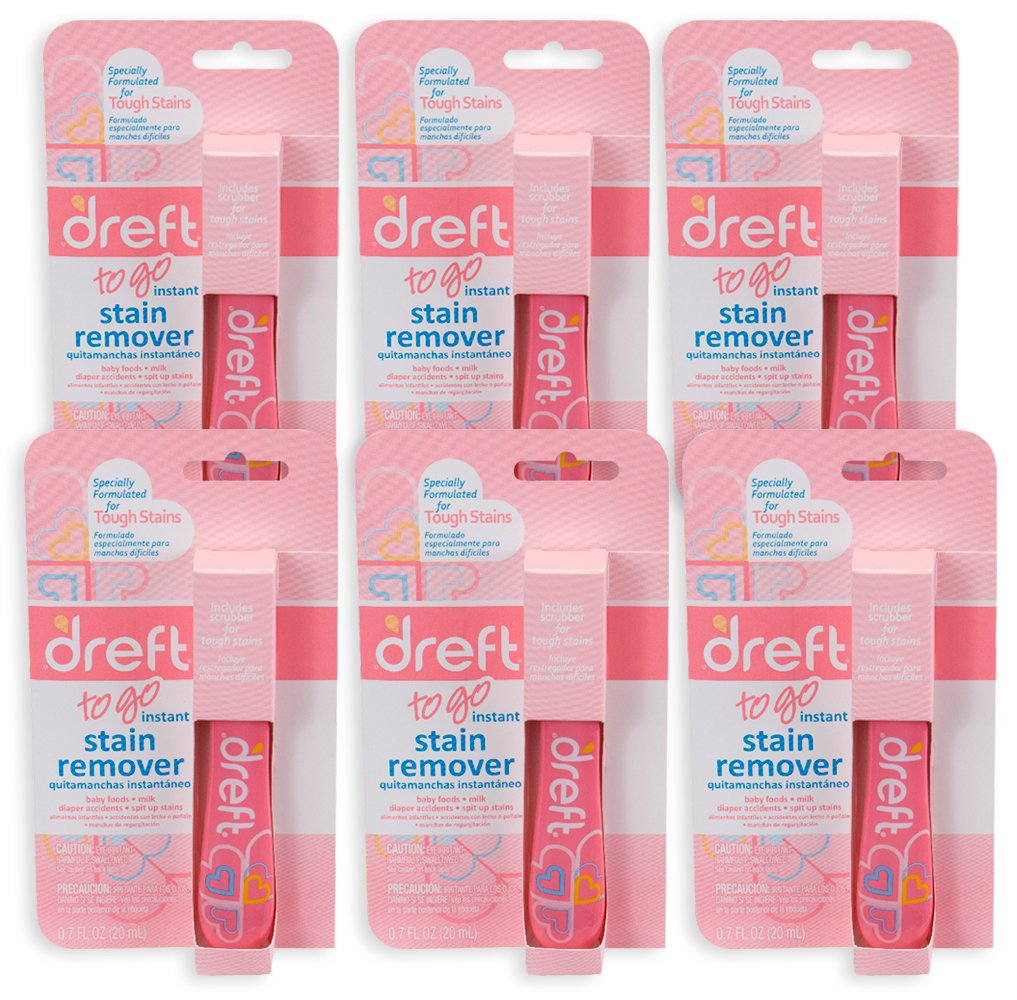 Dreft Baby Laundry Instant Stain Remover Pen, 0.7 Fluid Ounce (Pack of 6 Travel To-Go Pens)