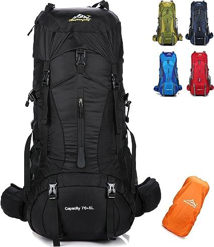 onyorhan 70L+5L Mochila Viaje Trekking Excursionismo Senderismo Alpinismo Escalada Camping Hombre Mujer (Negro): Amazon.es: Deportes y aire libre