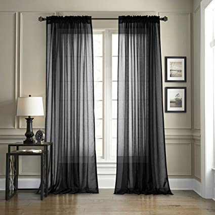 Excellent Dreaming Casa 2 Pieces Black Sheer Curtains Voile Window Curtain Rod Pocket Panels For Bedroom Living Room 84 Wx 63 L Best Image Libraries Thycampuscom