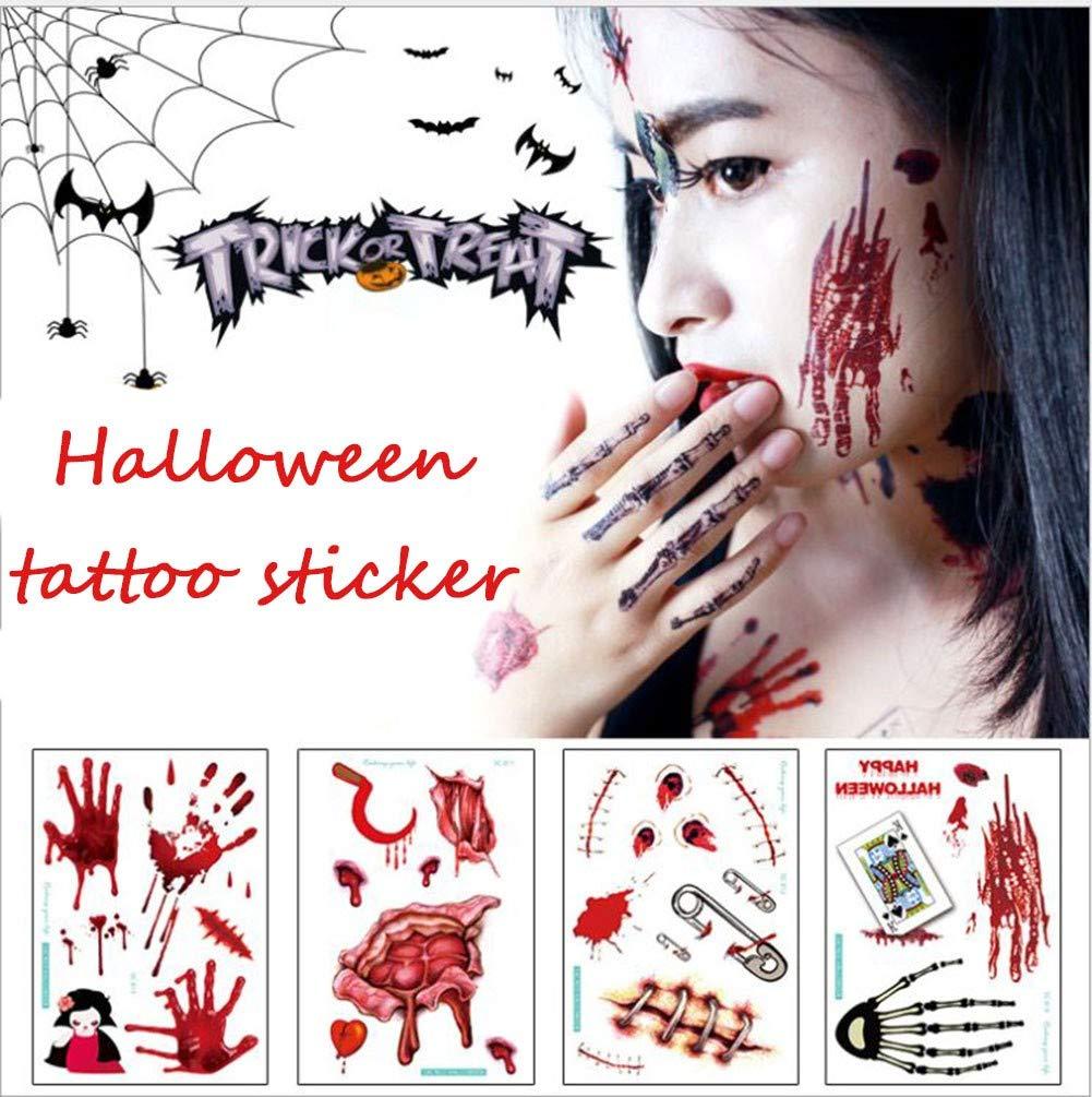 GJQGYY Halloween Tatuajes Temporales Zombie Cicatrices Tatuaje ...