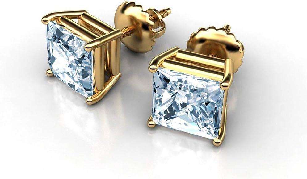 1.00 Ct Princess Cut Solitaire Stud Earrings 14K White Gold Screw back Pierced