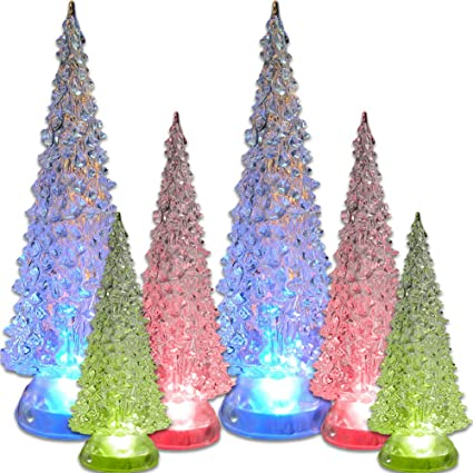 led lighted acrylic christmas trees holiday decoration set of 6 assorted sizes 10 75quot
