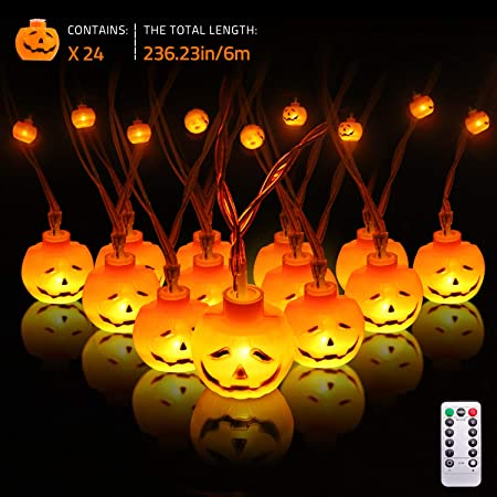 3D Halloween Lights Orange Pumpkin 20 Ft 30 LED String Lights Waterproof Dimmable 8 Modes with Remote /& Timer Battery Operated Jack-O-Lantern Halloween Party Decoration for Indoor Outdoor IP65