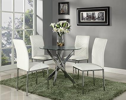 Tavoli Con Gambe Di Vetro : Stunning tavolo di vetro rotondo con gambe cromate e sedie in