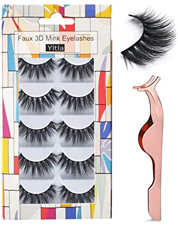 82d3ec3f27f Professional 5 Pack Faux 3D Mink Eyelashes Thick Long Multilayer Fluffy False  Eyelashes With Free Precision