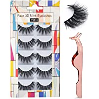 Professional 5 Pack Faux 3D Mink Eyelashes Thick Long Multilayer Fluffy False Eyelashes With Free Precision Eyelashes Clip (5 pairs)