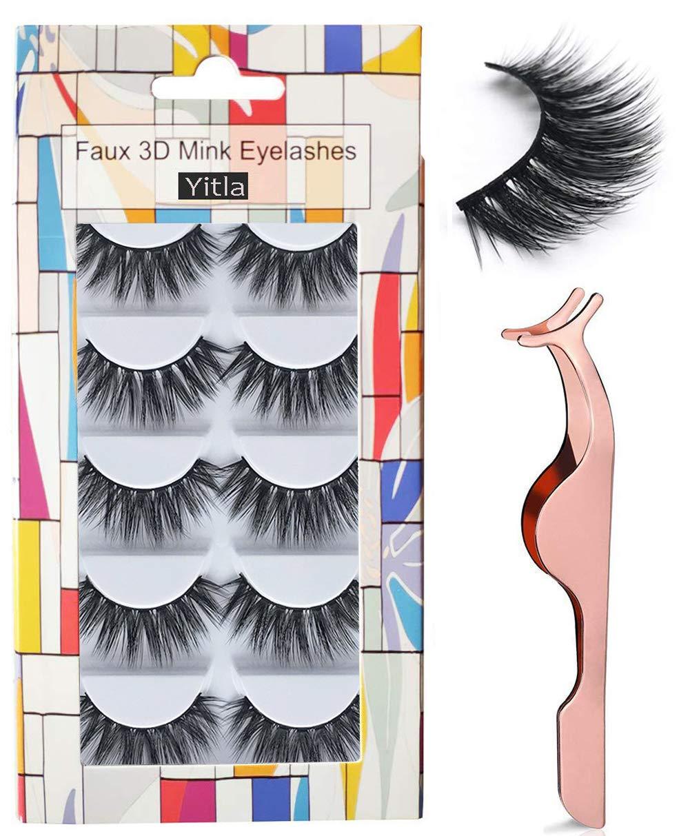b363af154c5 Professional 5 Pack Faux 3D Mink Eyelashes Thick Long Multilayer Fluffy False  Eyelashes With Free Precision Eyelashes Clip (5 pairs): Amazon.co.uk: Beauty