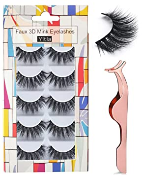 db8c3dab504 Image Unavailable. Image not available for. Colour: Professional 5 Pack  Faux 3D Mink Eyelashes Thick Long Multilayer Fluffy False ...