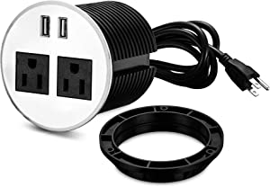 Desktop Power Grommet,PRUIZS 3.15inch Hole Table Power Grommet Outlet with 2 USB Charging Ports,10ft Extension Cord Desk Power Strip with 2 Outlets for Computer,Table, Kitchen, Office,Home,Hotel