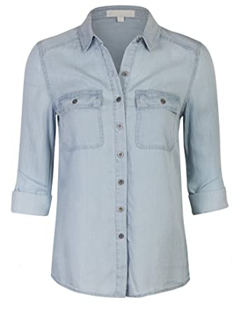 8ece1b93413 KOGMO Womes Long Sleeve Tencel Denim Shirt Relaxed Fit Blouse-L-Light Blue