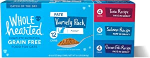 WholeHearted Grain Free Pate Catch of The Day Wet Cat Food Variety Pack for All Life Stages, 2.8 oz.