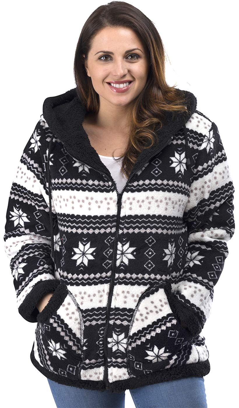 TrailCrest Ladies Smart Plush Sherpa Lined Hooded Sweater Jacket, Zip Up Classic Black by TrailCrest