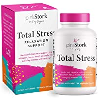 Pink Stork Total Stress: Vitamins Formulated for Natural Stress Support + Anxiety Relief with Magnesium + Vitamin B12 + Ashwagandha + Zinc, Women-Owned, 60 Capsules