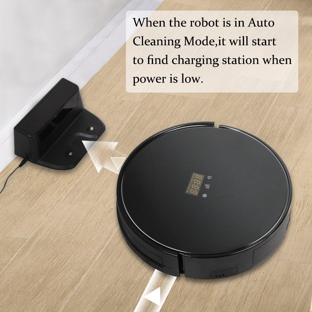 aslandara Aspiradora robot con alta Sau Track Tung Tecnología, limpieza automática del suelo de tiempo de funcionamiento: 80 min, carga de magia con base de ...