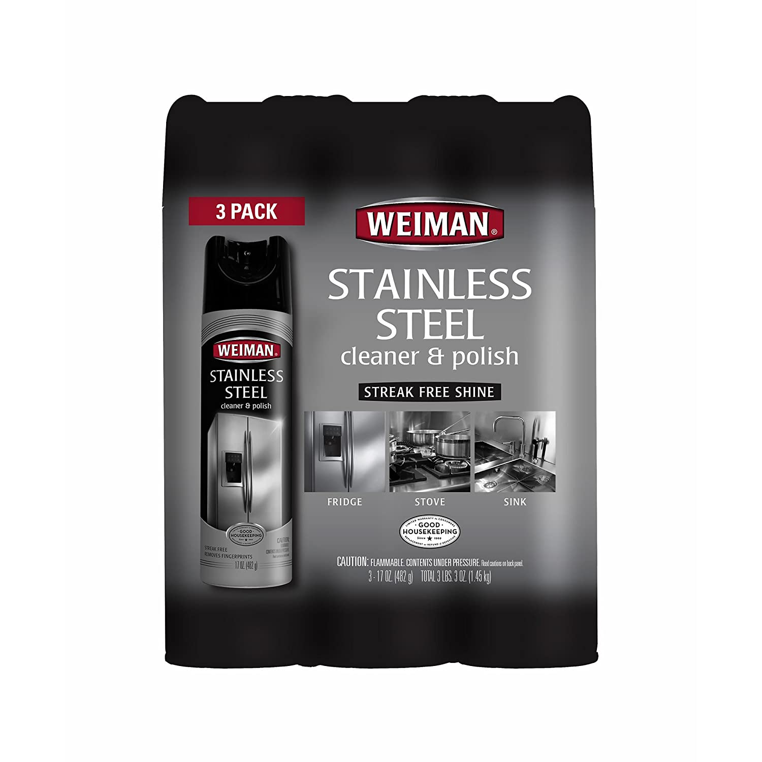 Weiman Stainless Steel Cleaner、3 PK。/17オンス B06W2LXLTT