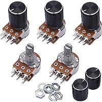 Taiss / 5pcs 1K Ohm 6 Pins Split Shaft Rotary Linear Dual Taper Audio B Type Potentiometer, Volume Control Potentiometer B1K + 5pcs Knob (Black)