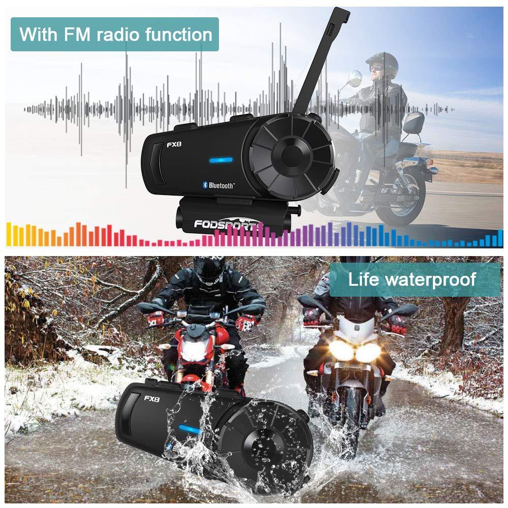 Bluetooth Headset Motorcycle Intercom Manos Libres Auriculares hasta 8 Jinetes Fodsports Auriculares Intercomunicador Moto FX8 Gama Comunicaci/ón Intercom de 1000m 1 Pieza