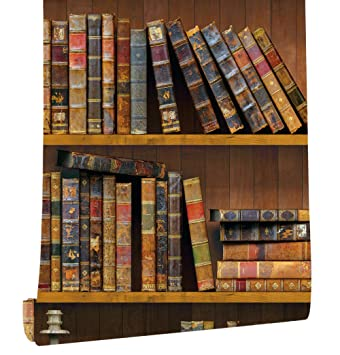 Haokhome 61023 Peel Stick Faux Library Wallpaper Brown Multi Self