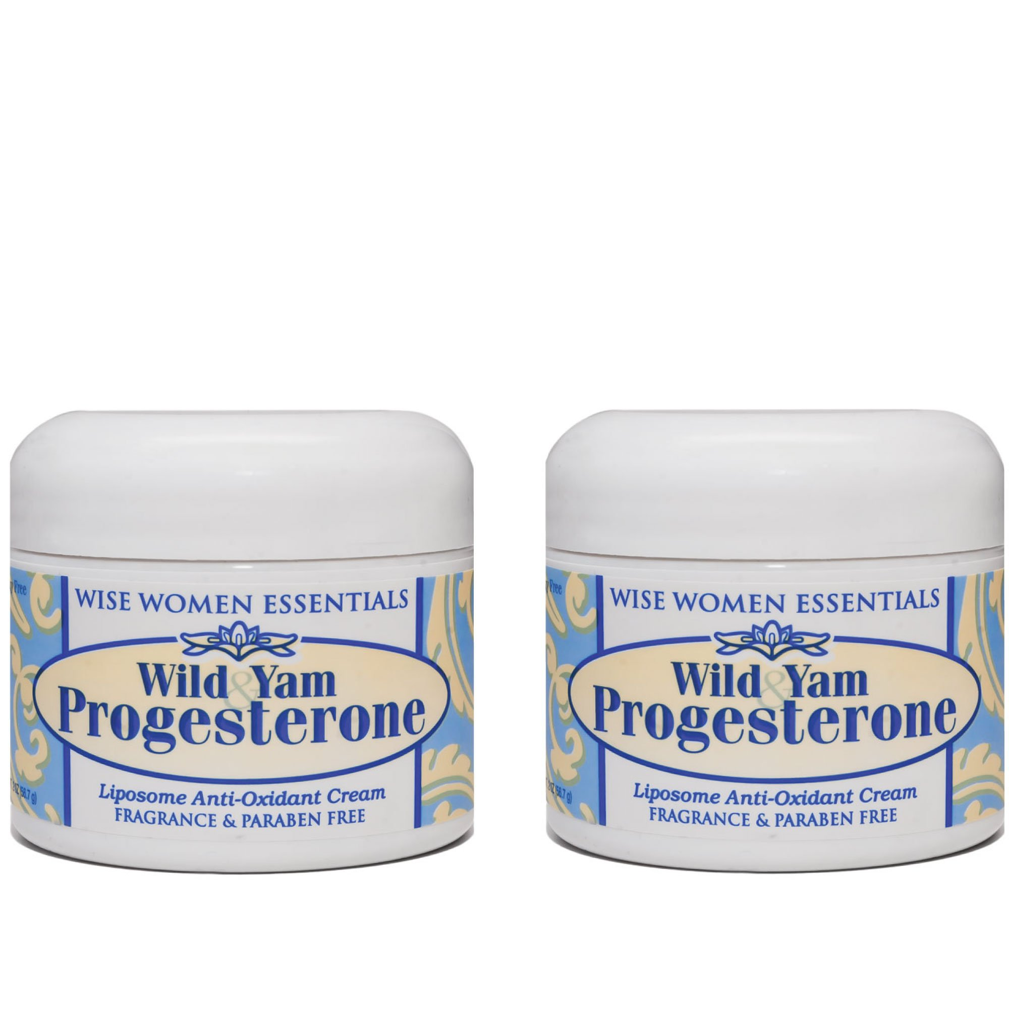 Wild Yam & Progesterone Cream - For Menopause and Mid life Changes. 2 oz - Paraben Free - Fragrance Free - Wise Essentials 2 Jars pack