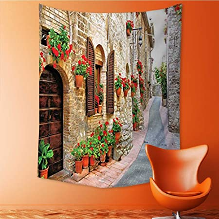 Tapiz para decoración de Pared, diseño de la Toscana con Piedra y escaleras, Color Marfil, Rosa, Verde, Cortina DE 40 x 60 cm: Amazon.es: Hogar