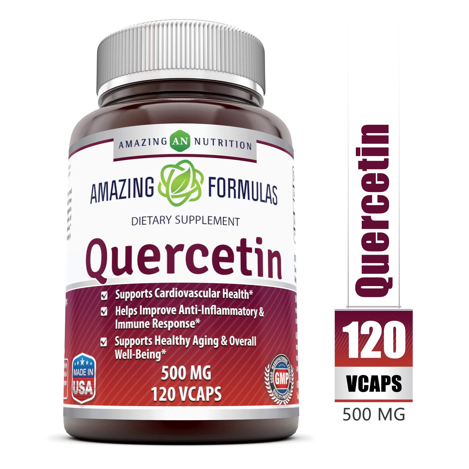 Amazing Formulas - Quercetin 500 Mg, 120 VCaps(Vegetarian Capsules) * Supports Cardiovascular Health, Helps Improve Anti-Inflammatory & Immune Response,