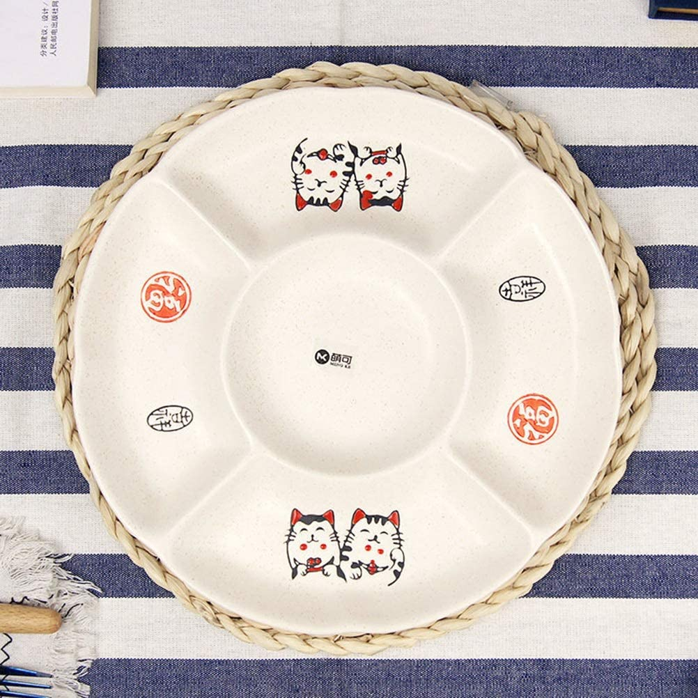 XIAOPING 5 Grid Ceramic-Fruit Basket Dried Fruit Plate Fruit Bowls Platter Creative Hand-painted Lucky Cat Snack Dishes Separated Fruit Plate -89 71WNSIV4TDLSL1007_
