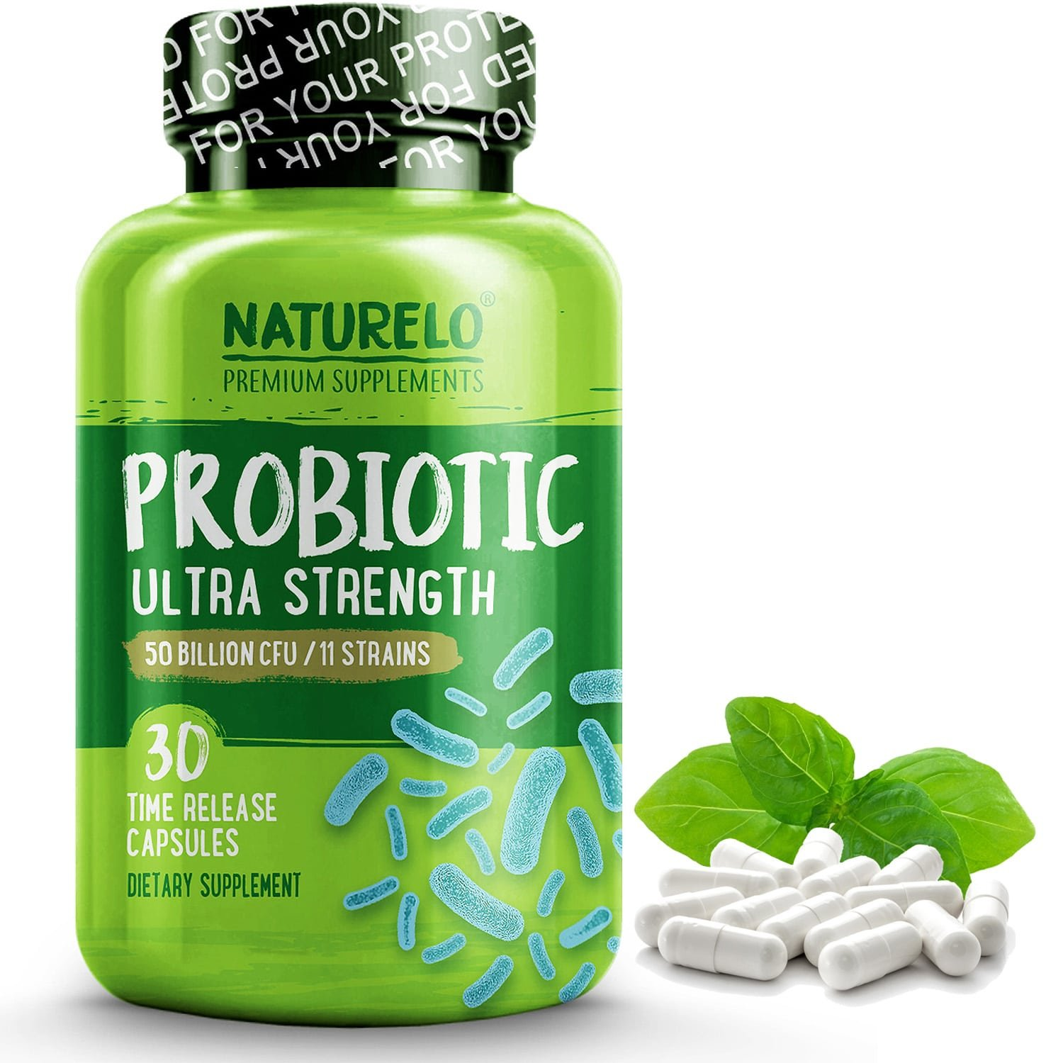 NATURELO Probiotic Supplement - Best for Digestive Health and Immune Support - Ultra Strength Probiotics - 50 Billion CFU - 11 Strains - No Refrigeration Needed - 30 Vegetarian Capsules