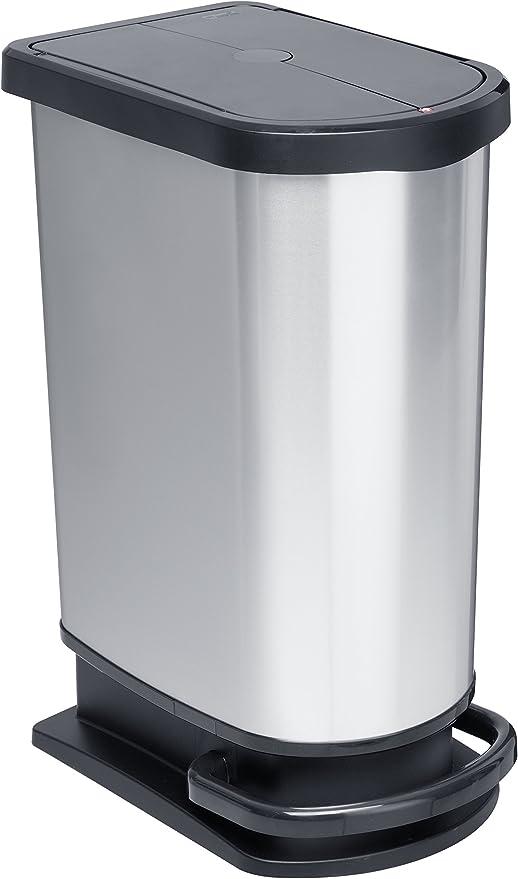 Cubo de basura 6 L Rotho 1165080264 Paso color plateado