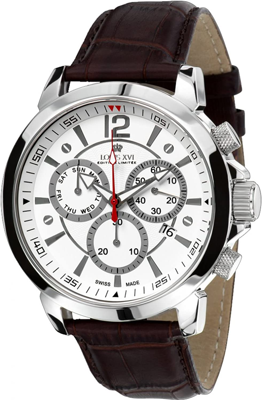 Louis XVI Men s-Watch Athos le Grand l argent Blanc Swiss Made Chronograph Analog Quartz Leather Brown 561