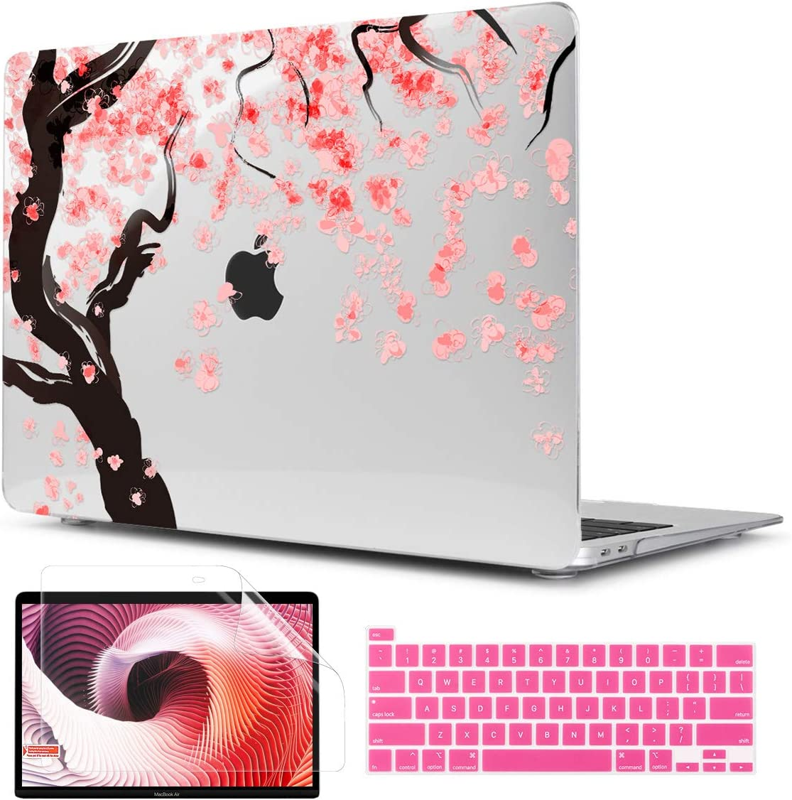 TwoL Cover for MacBook Pro 16 inch 2019 2020, Cherry Blossoms Printed Hard Shell Case and Keyboard Skin Screen Protector for New MacBook Pro 16 A2141