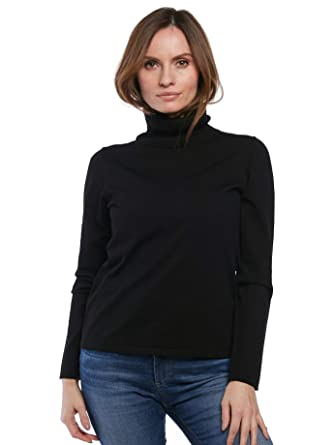 123015dd August Silk Women's Long Sleeve Washable Silk Turtleneck (Small, Black)