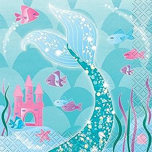 Mermaid Beverage Napkins, 16ct