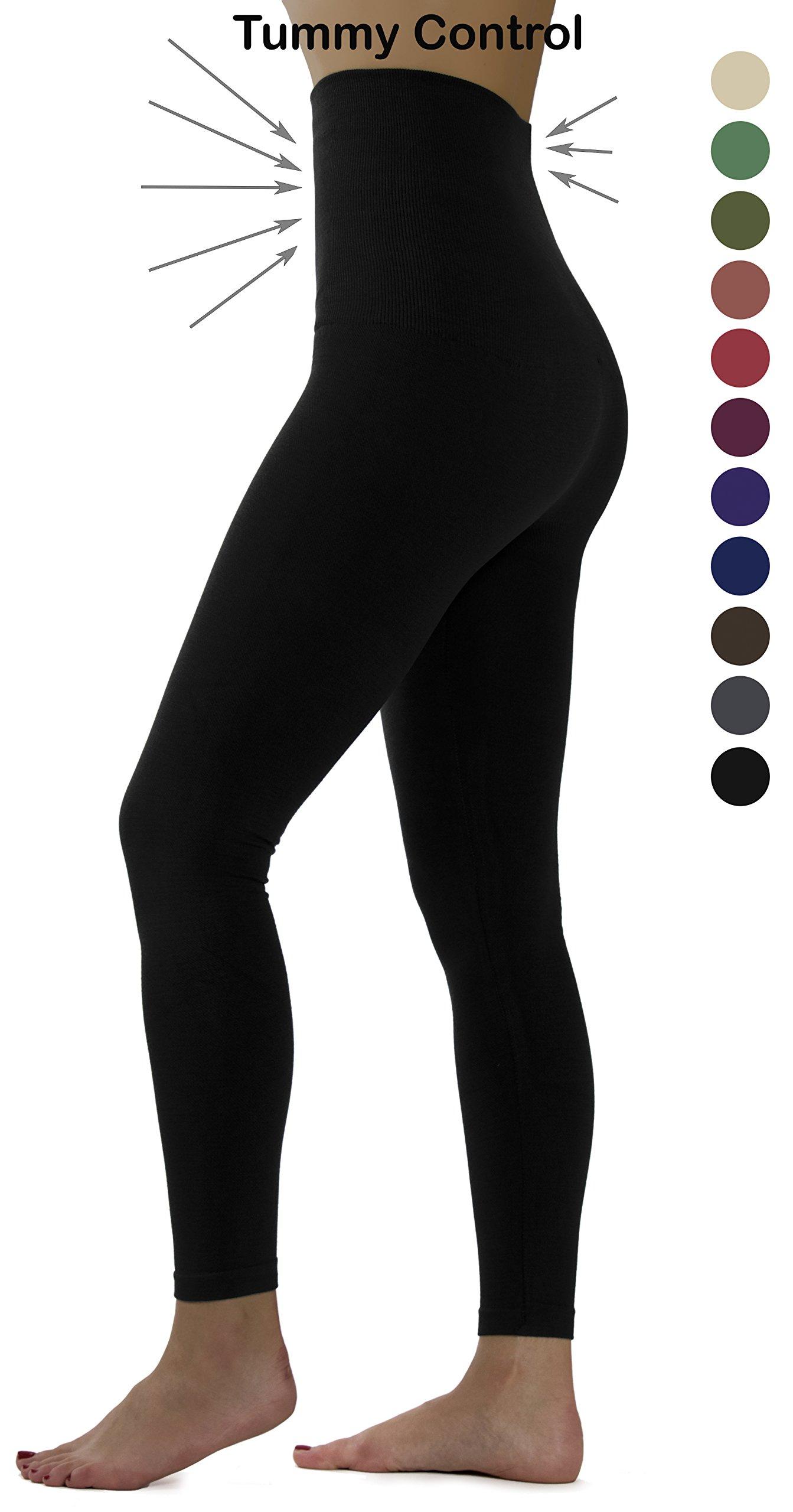 Ylluo Premium Tummy Support Slimming Leggings Thick High Waist Fleece and Non Fleece (L/XL/XXL (US Size 12-18), Black)