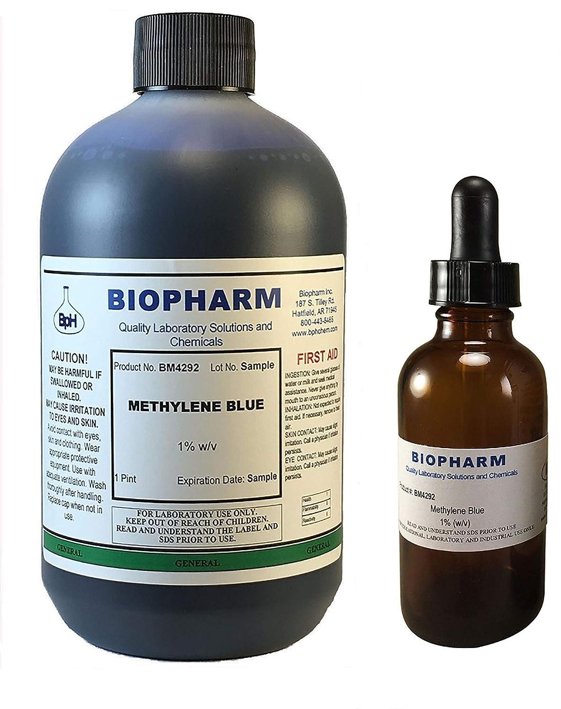 Biopharm Methylene Blue 1% Aqueous Solution | 1 Pint | Includes an Empty 50 mL Dropper Bottle and Dispensing Cap
