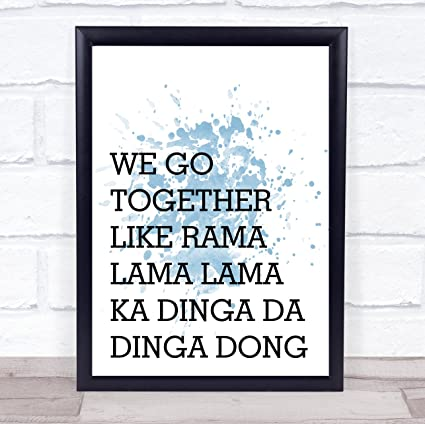 Amazon.com: Blue Grease We Go Together Song Lyric Wall Art Quote