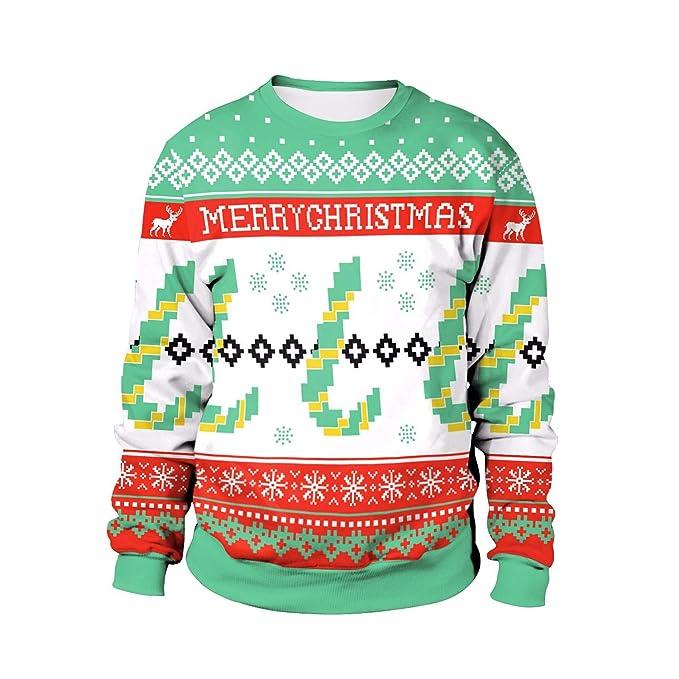 Lxj Sweater Sudadera Trajes De Navidad Copo De Nieve De Pixel Copo De Nieve Impresión Cómodo Cuello Redondo Suéter: Amazon.es: Ropa y accesorios