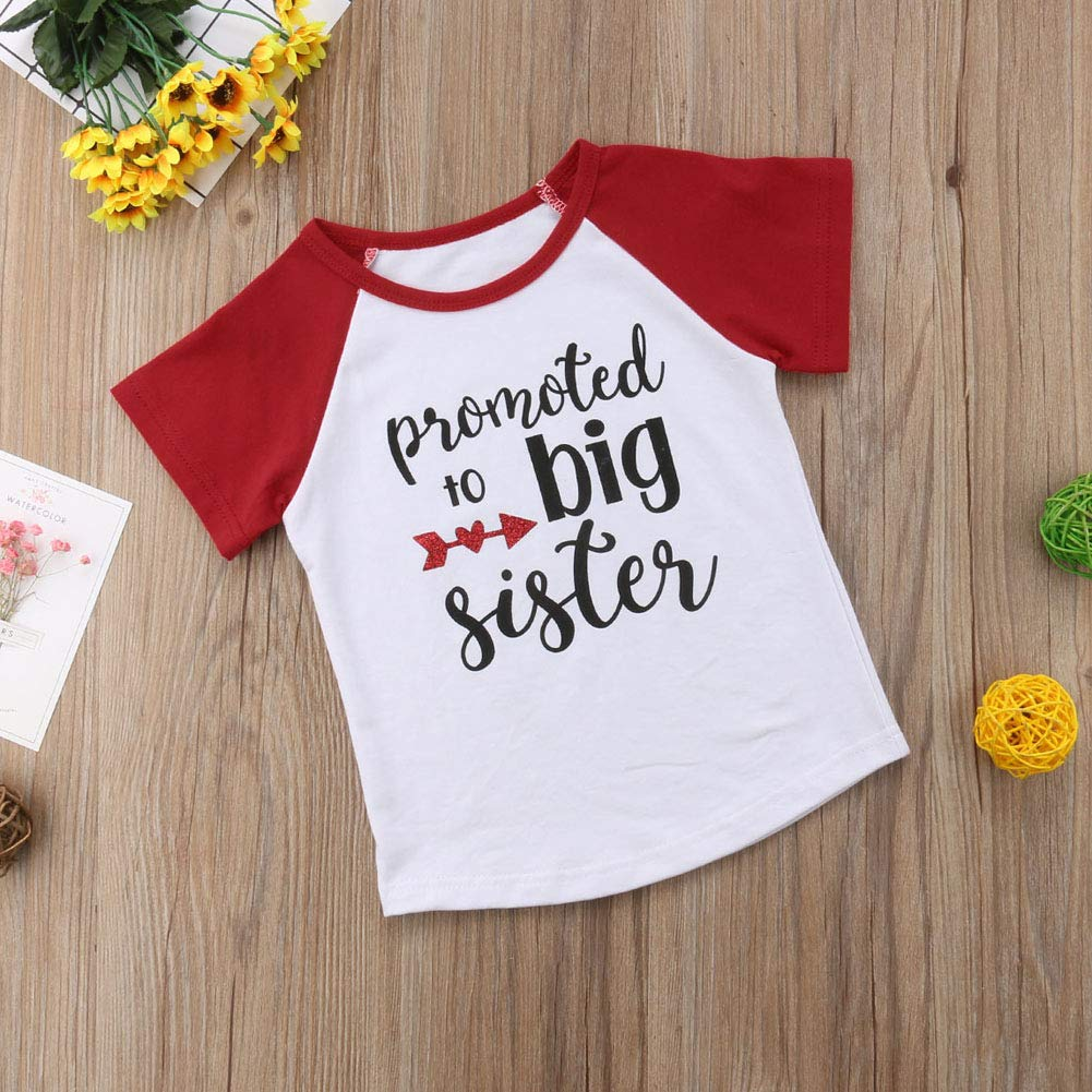 GOOCHEER Toddler Kids Little Girls Promoted to Big Sister Letters Print/Shirt Short Sleeve Tees Blouse Tops